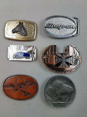 6 pc lot Vtg Men's Belt Buckles Snap-On Buffalo Nickel Chopper Horse Bud Geese