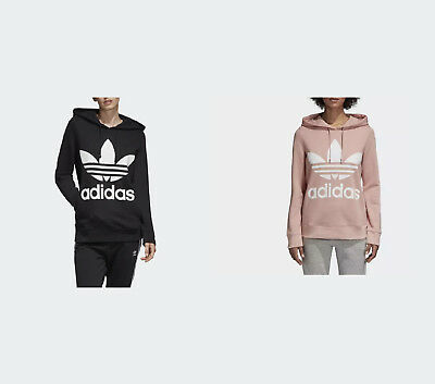 Adidas Originals Women's Trefoil Hoodie BLACK, PINK SPIRIT - NEW