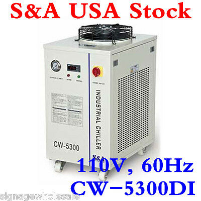 110V CW-5300DI Industrial Water Chiller for 1 x 200W CO2 laser/ 18KW CNC Spindle