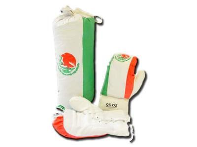 "Boxing Bag Set-Mexico 18"" Punching Bag Pair of 10 oz Gloves Training Boys Kids"