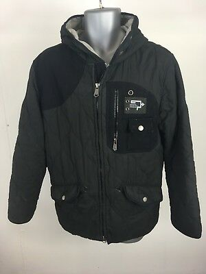 Men's Nickelson Inc Black Quilted Padded Hooded Zip Up Jacket Coat Size Medium