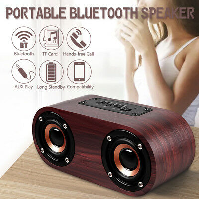 Wireless Wooden Bluetooth 4.2 Speaker Stereo Retro Loudspeaker Music Player USB