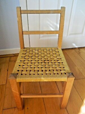 Child's Retro Wooden Chair yellow vinyl string seat, good condition,60's 70's