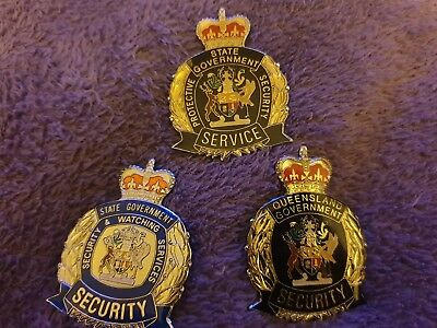 Badges Pins QUEENSLAND STATE GOVERNMENT SECURITY RARE LOT Enamel. STATE x 3