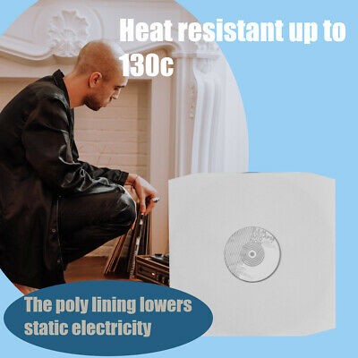 "25 12"" Inch White Paper Poly Lined Inner Record Sleeves 90gr Anti-Static bev"