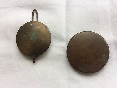 2 Antique Brass Mantle Clock Pendulum Bob