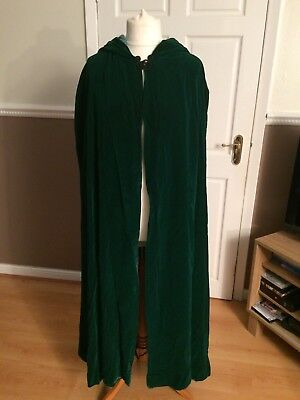 Genuine vintage stunning handmade green velvet hooded cape one size lined VGC