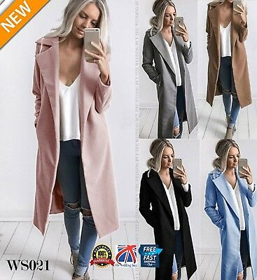 UK Women Wool Lapel Long Coat Trench Parka Jacket Overcoat Winter Outwear WS021