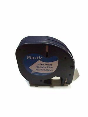 Compatible with DYMO LetraTag Plastic Label Tape 12mm Black on White 91201