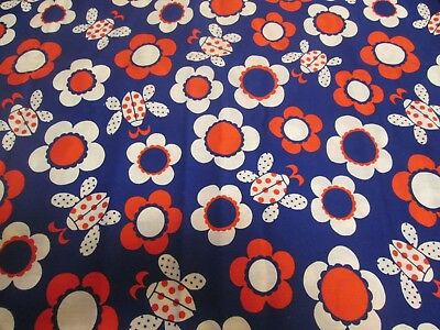 """Vintage Cotton Fabric 1 Yard by 44"""" FLOWER POWER LADYBUGS"""