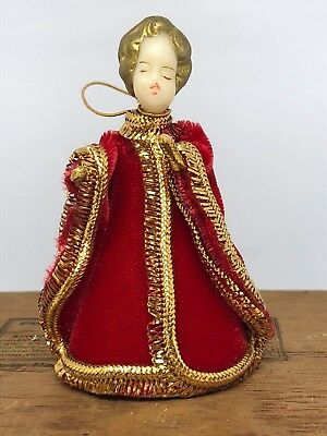 ESTATE KOESTEL CHOIR BOY Wax Face Red Velvet Tree Topper Ornament, MISSING WINGS