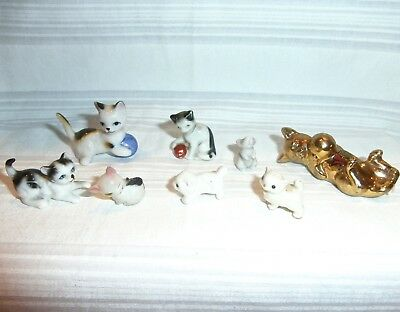 8 Vintage Miniature Bone China Celluloid Cats Kittens Mouse Germany Bug House