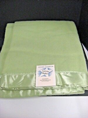 Vintage NORTH STAR 100% Light Green Wool Blanket With ribbon edge 72X90 NWT NOS