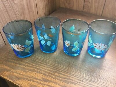 Antique Vintage Hand Blown Painted Flowers Set Of 4 Drinking Glasses