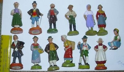 "13 German Antique EC Composition Toy Putz People 3"" Figures"