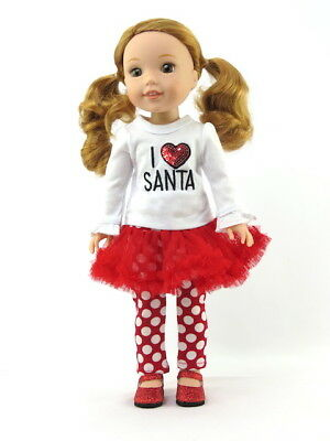 """I love Santa Christmas Skirt Outfit For 14.5"""" Wellie Wishers Doll Clothes"""