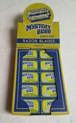 Vintage Mystery Edge Razor Blade Store Display Box with 20 Full Packets