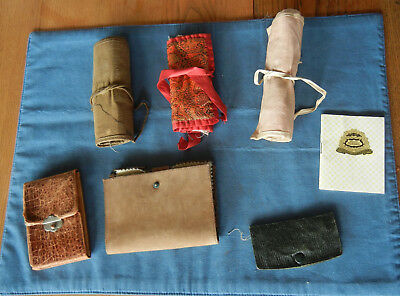 Lot of Antique Sewing Kit Pocket Roll Up / Army + Homemade + Leather FREE SHIP