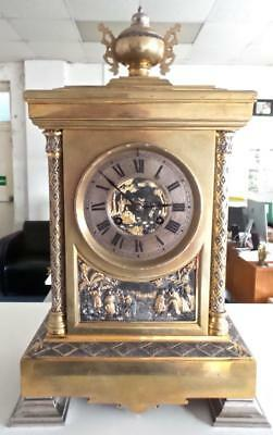 Antique French 19thc Brass 8 day Striking Mantle Clock With Superb Relief Scenes