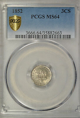 1852 3 cent silver, type I, PCGS MS64