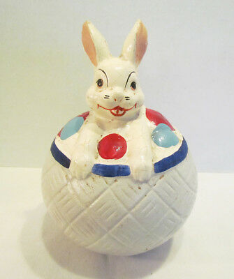 Easter Rabbit Vintage Roly Poly Funny Bunny Woodpress Toy Compo Style Antique