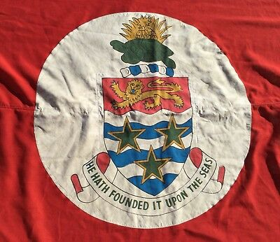 Vintage Red Ensign Maritime Linen Flag From The Cayman Islands