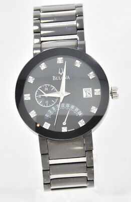 Men's Bulova 98D109 Black Stainless Two Tone Band Diamond Accent Dial Watch