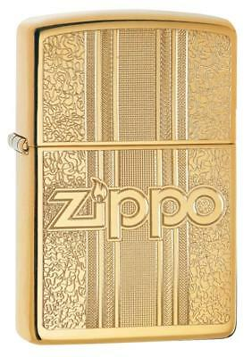 Zippo Windproof Brass Lighter With Ornate Pattern & Zippo Logo, 29677 New In Box