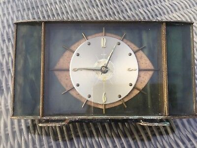 Vintage Metamec Art Deco Marble Brass Mantel Clock In Need Of Repair
