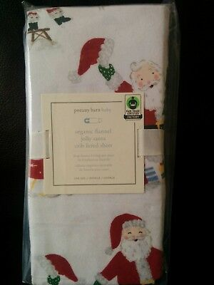Pottery Barn Kids Jolly Santa Flannel Crib Fitted Sheet Organic Christmas Red