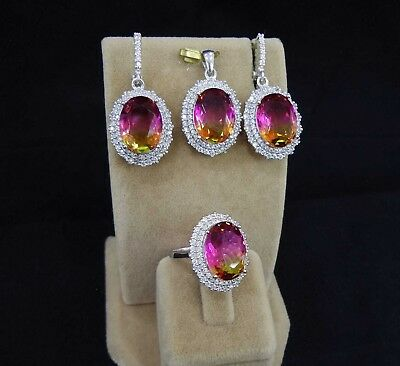 AAA Quality 925 Sterling Silver Jewelry, Tourmaline Ladie's Full Set