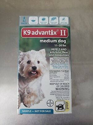 Bayer K9 Advantix II For Medium Dogs 11 - 20 lbs One dose New, Free Shipping