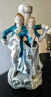 Vtg Hand Painted Porcelain Lamp Base Victorian Couple Pioneer Mose Co NY Japan