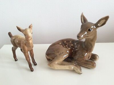 Continental Porcelain Deer & Fawn Figures Group