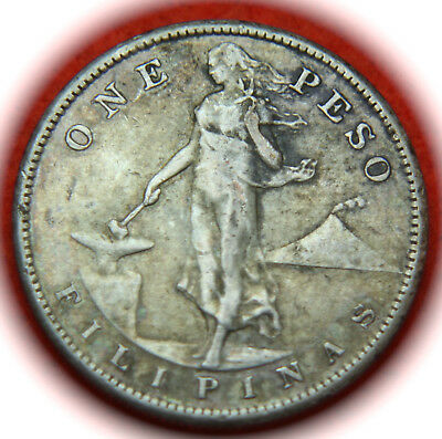 1907-S Phillipines U.S. Territorial Issue Silver PESO Coin - No Reserve!!