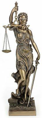 "Blind Lady Justice Sculpture Goddess of Law & Order 18"" *GREAT HOLIDAY GIFT!"