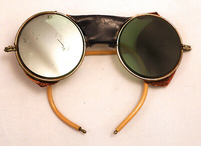 Antique American Optical Leather Shield Safty Goggles Mountaineering Sun Glasses
