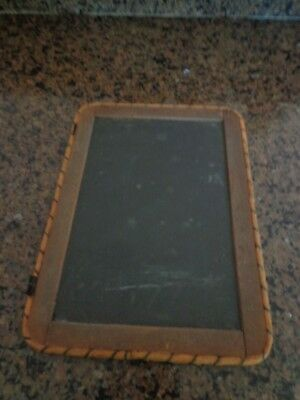 Antique Primitive Students Personal 2 Sided Slate Chalk Board-Rope Edge-Rustic