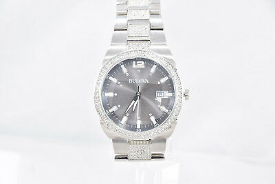 Men's Bulova 96B221 Stainless Steel Bracelet Crystal Accented Gray Dial Watch