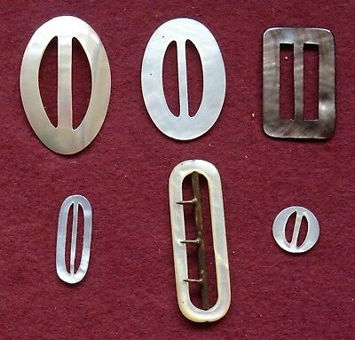 6 Vintage Art Deco Lot of Mother of Pearl Dress Buckles