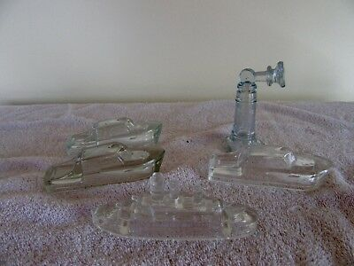 5 Vintage Glass Candy Ship Containers