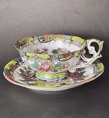 Bird of Paradise,Pink Floral Garden Hand Painted Footed Teacup Set,Made in Japan