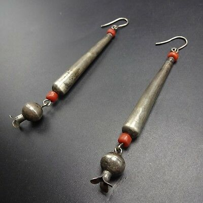 OLD Pojoaque PUEBLO Sterling Silver CORAL Squash Blossom EARRINGS Long Dangle