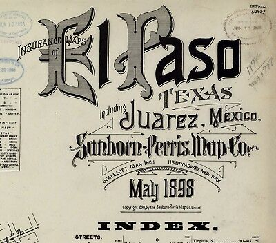 El Paso, Texas~Sanborn Map© sheets~on CD~26 maps in color made 1908
