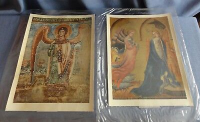"""2 Religious Prints on Canvas """"The Annunciation"""" & """"Saint Rapphael"""" Made in Italy"""