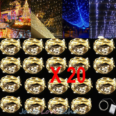 1-20pcs Battery Powered Copper Wire 30Led String Fairy Light 3M/10FT Warm White