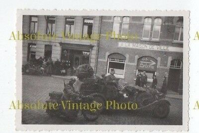 Ww2 Military Transport Photo German Motorcycle & Staff Car France Vintage 1940S