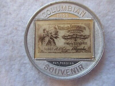 1893 Worlds Columbian Expo Alum.medal /token,encased Admission Ticket Near Mint