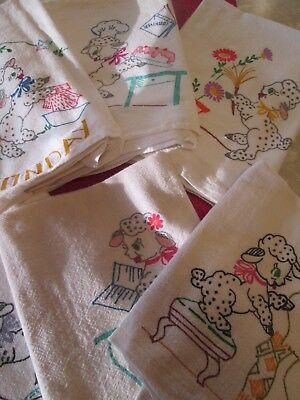 Lot of 6 ADORABLE Sheep Stamped Flour Sack Towels