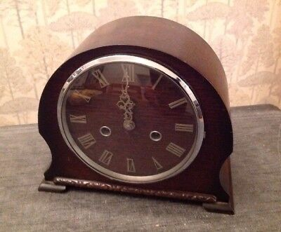 Antique Smiths Chiming Mantle Clock Chimes Caved Case For Repair 38x22x12cm